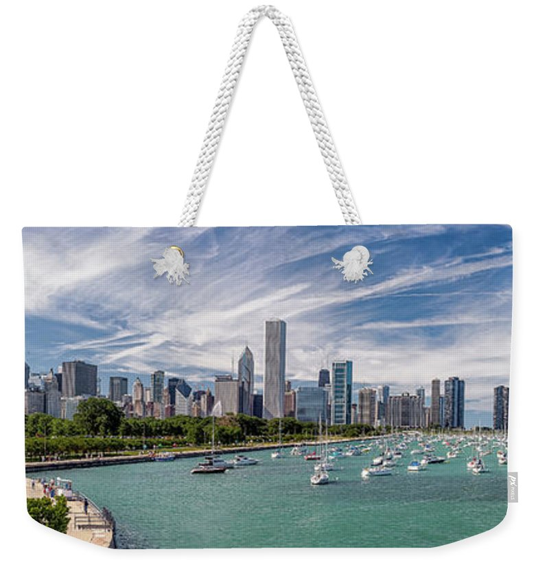 3scape Weekender Tote Bag featuring the photograph Chicago Skyline Daytime Panoramic by Adam Romanowicz