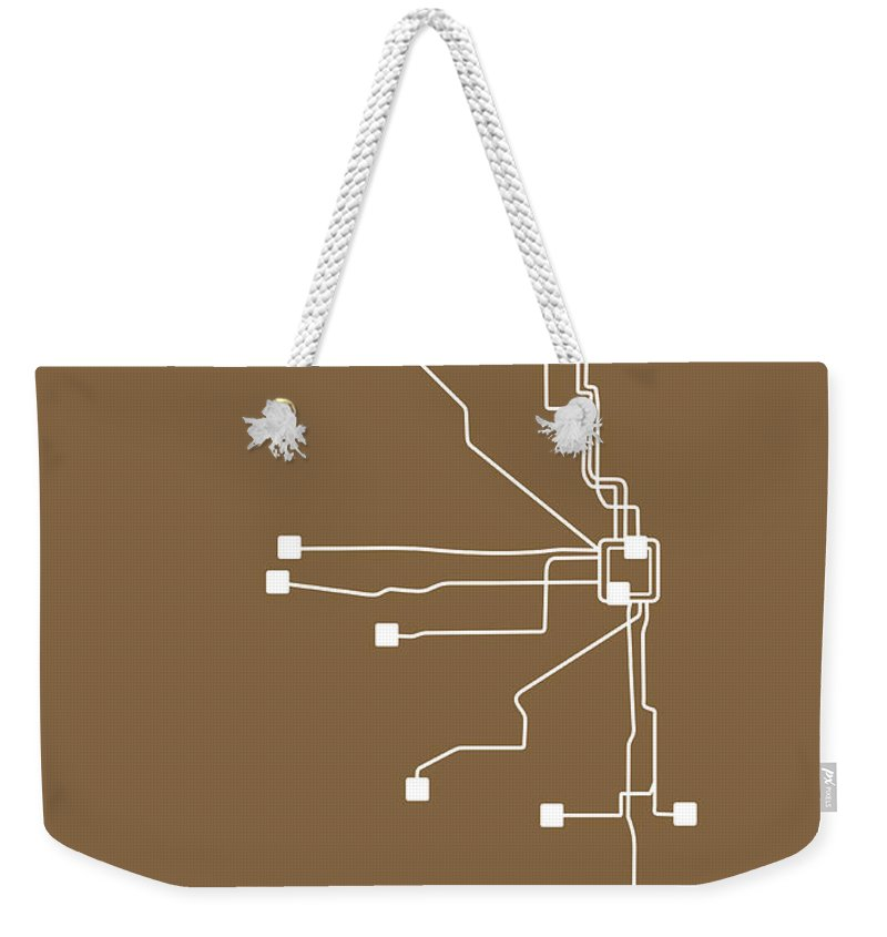 Chicago Weekender Tote Bag featuring the digital art Chicago Subway Map 2 by Naxart Studio