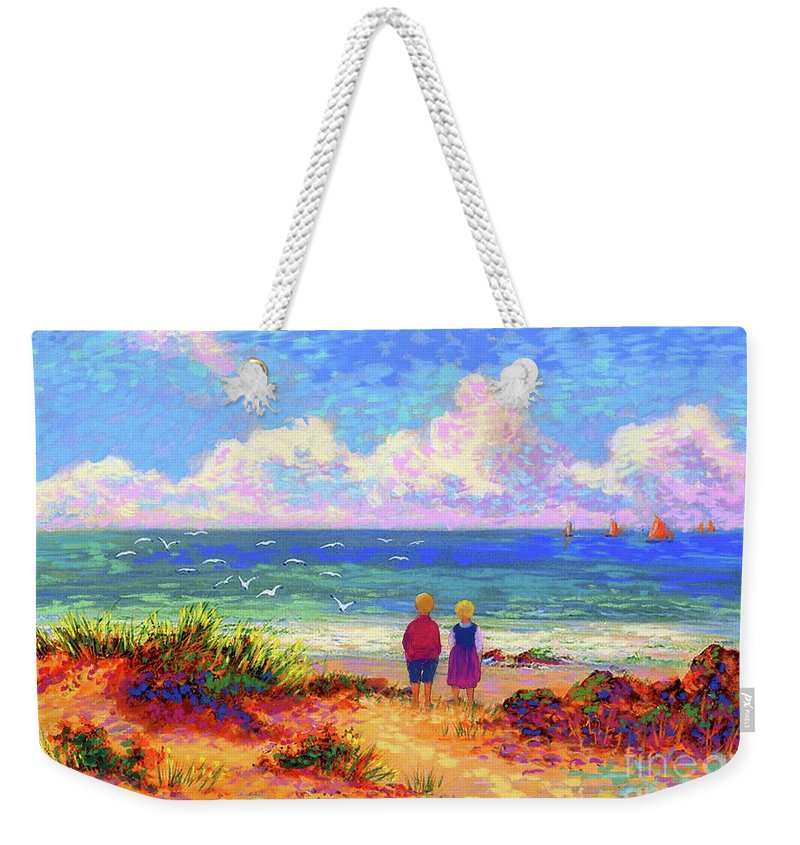 Ocean Weekender Tote Bag featuring the painting Children Of The Sea by Jane Small