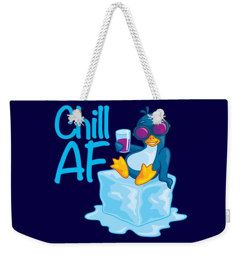 Penguin Weekender Tote Bag featuring the digital art Chill AF Penguin on Ice by John Schwegel