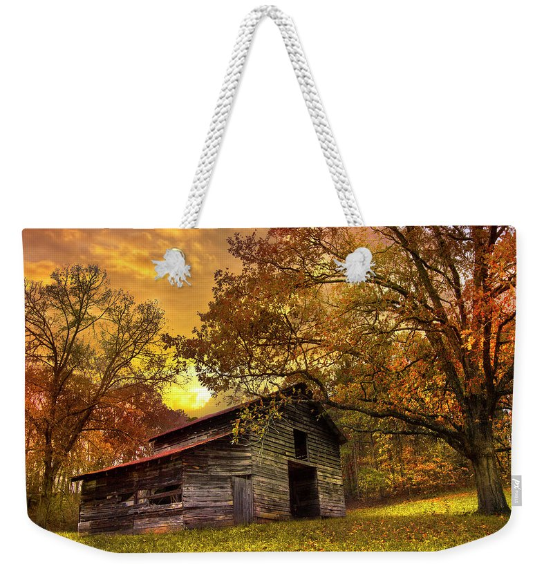 Appalachia Weekender Tote Bag featuring the photograph Chill Of An Early Fall by Debra and Dave Vanderlaan