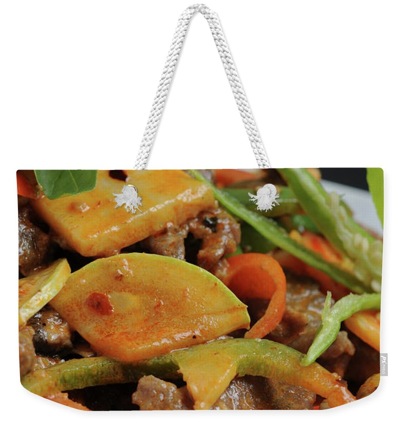 Food Weekender Tote Bag featuring the photograph Chinese Pan Fried Beef A4 by Ilan Amihai
