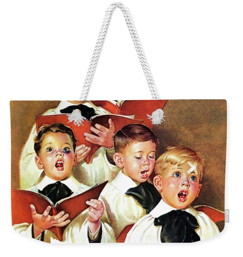 Black Eyes Weekender Tote Bag featuring the drawing Choir Boys Will Be Boys by Frances Tipton Hunter