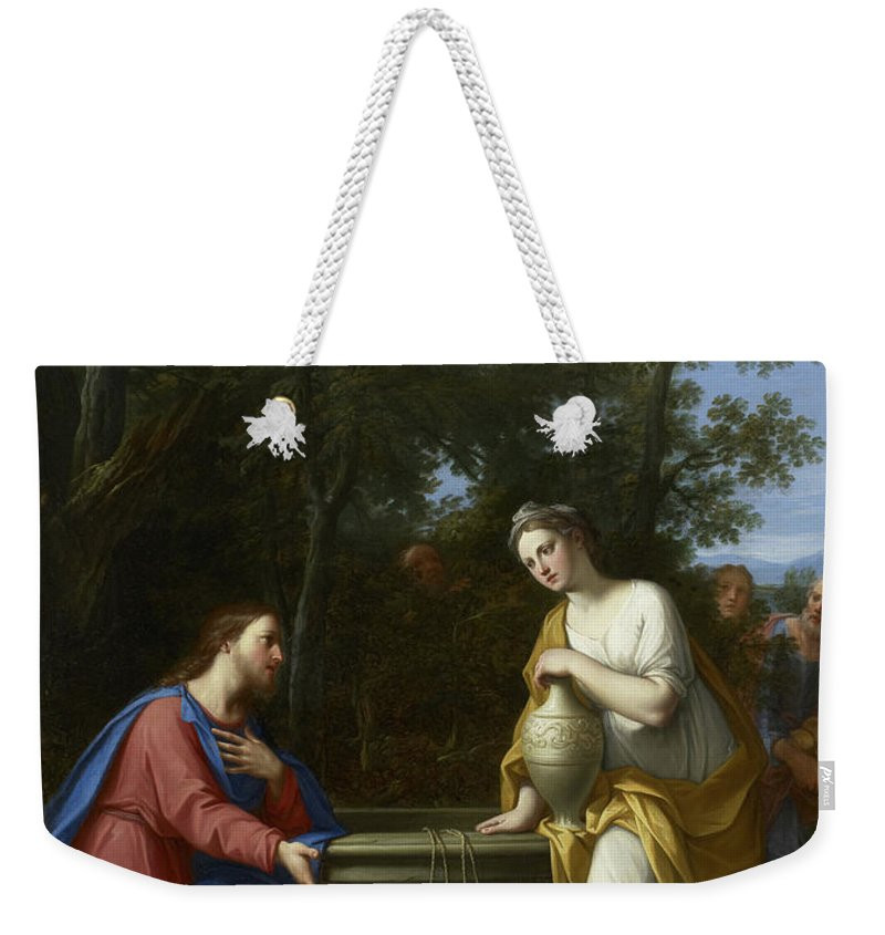 Christian Weekender Tote Bag featuring the painting Christ And The Woman Of Samaria by Marco Antonio Franceschini