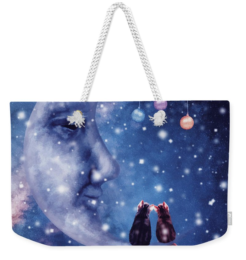 Christmas Weekender Tote Bag featuring the digital art Christmas Card With Smiling Moon And Cats by Mihaela Pater