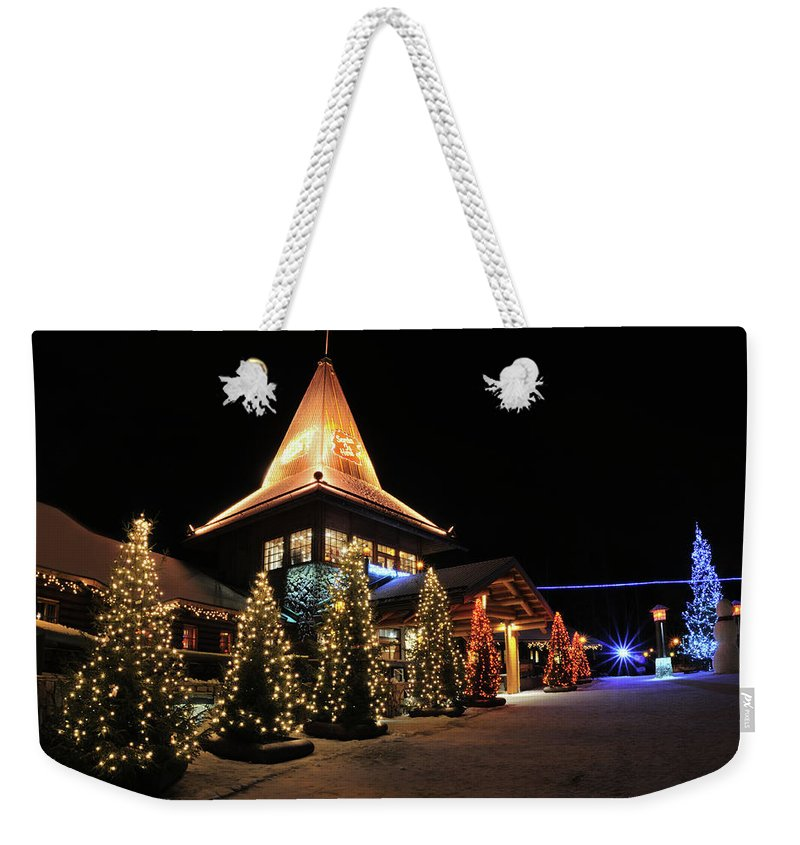 Holiday Weekender Tote Bag featuring the photograph Christmas Decorated Town by Csondy