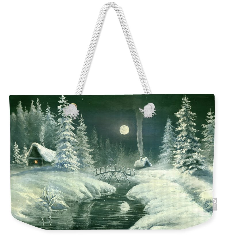 Art Weekender Tote Bag featuring the digital art Christmas Night In The Country by Pobytov