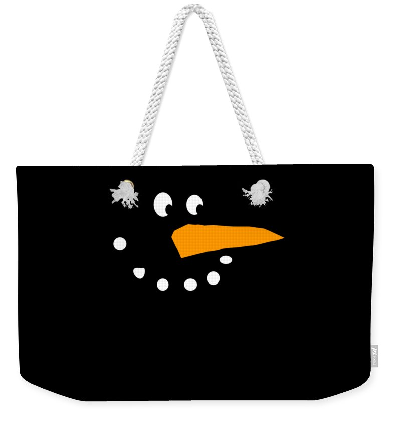 Christmas Weekender Tote Bag featuring the digital art Christmas Snowman by Flippin Sweet Gear