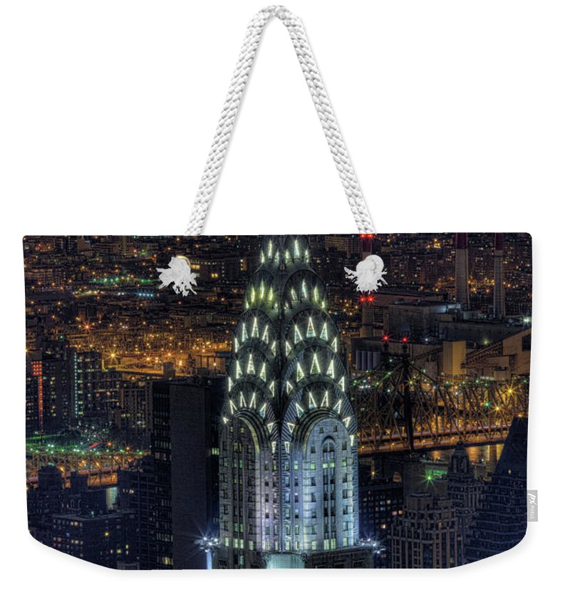 Outdoors Weekender Tote Bag featuring the photograph Chrysler Building At Night by Jason Pierce Photography (jasonpiercephotography.com)