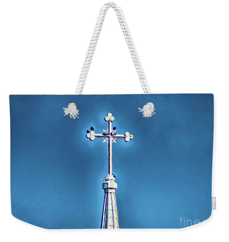 Church Steeple Weekender Tote Bag featuring the digital art Church Steeple In Macon Ga Next To The Hospital by Kim Pate