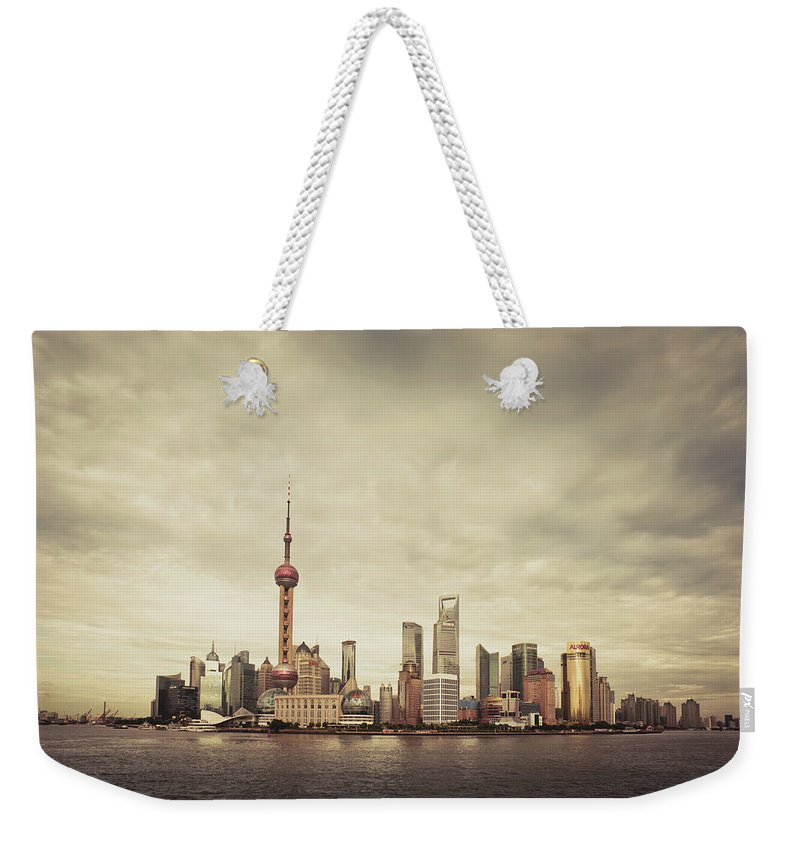 Communications Tower Weekender Tote Bag featuring the photograph City Skyline At Sunset, Shanghai, China by D3sign