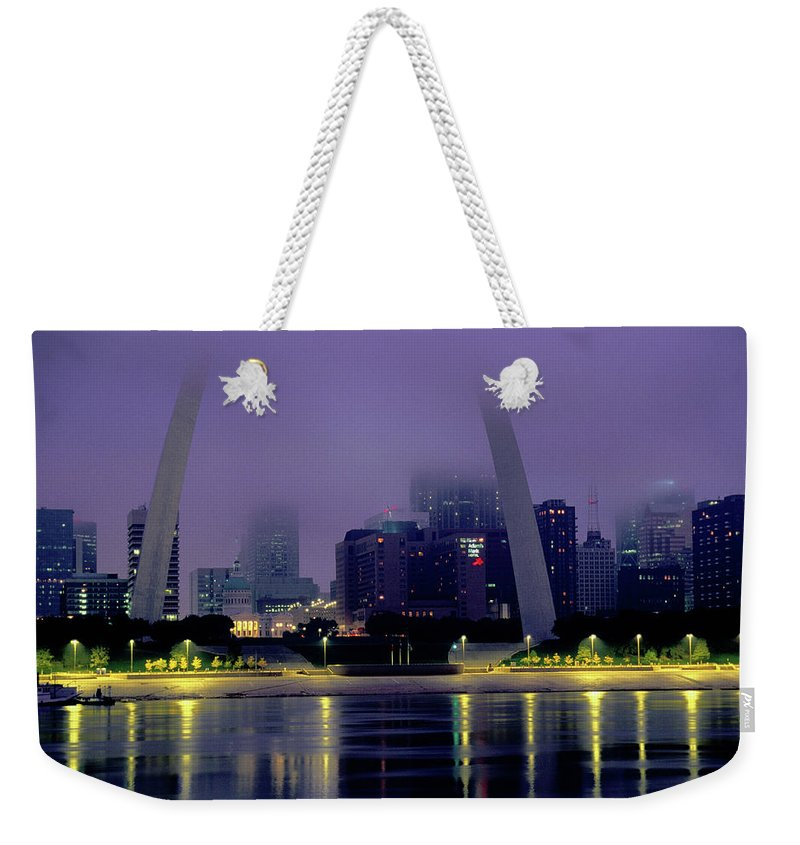 Arch Weekender Tote Bag featuring the photograph City Skyline In Fog, With Gateway Arch by John Elk Iii
