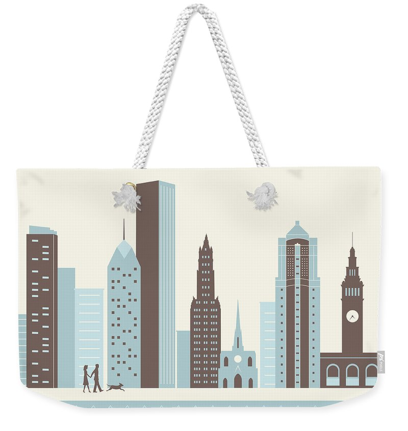 Heterosexual Couple Weekender Tote Bag featuring the digital art City Walk by Hey Darlin