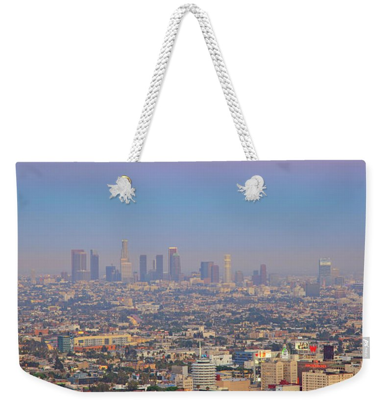 California Weekender Tote Bag featuring the photograph Cityscape Of Los Angeles by Eric Lo