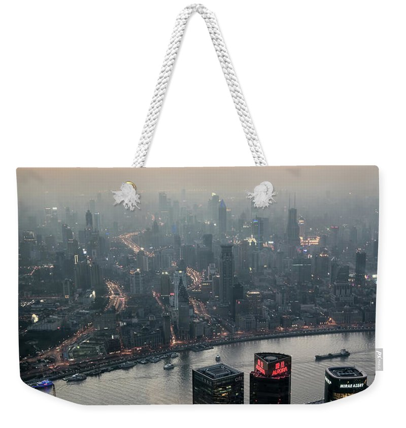 The Bund Weekender Tote Bag featuring the photograph Cityscape Puxi Shanghai by Andy Brandl