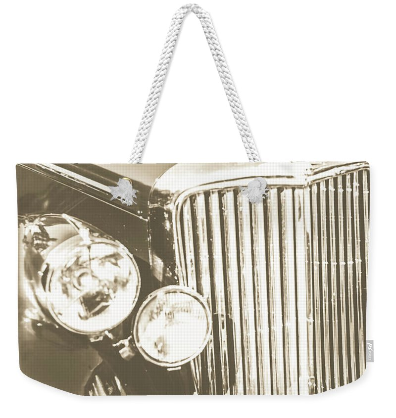 Classic Weekender Tote Bag featuring the photograph Classic Car Chrome by Jorgo Photography - Wall Art Gallery