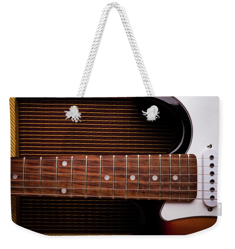 Rock Music Weekender Tote Bag featuring the photograph Classic Electric Guitar And Amp Still by Halbergman