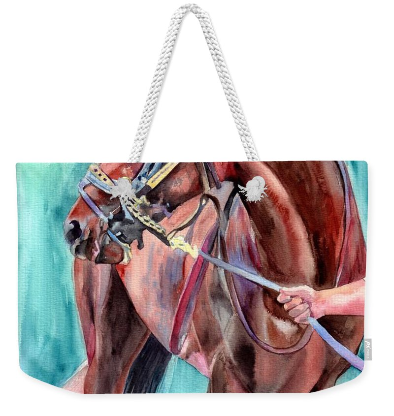 Watercolor Weekender Tote Bag featuring the painting Classical Horse Portrait by Suzann Sines