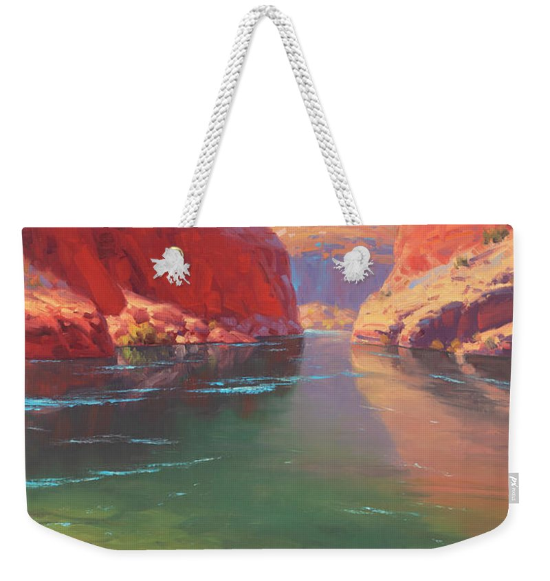 Grand Canyon Weekender Tote Bag featuring the painting Clear Currents by Cody DeLong