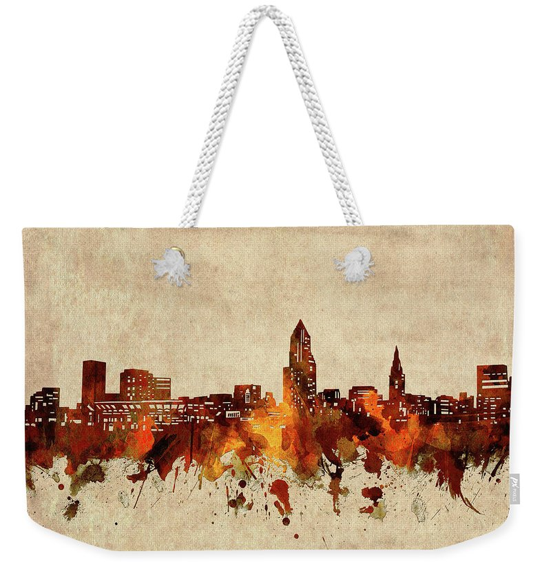 Cleveland Weekender Tote Bag featuring the digital art Cleveland Skyline Sepia by Bekim M