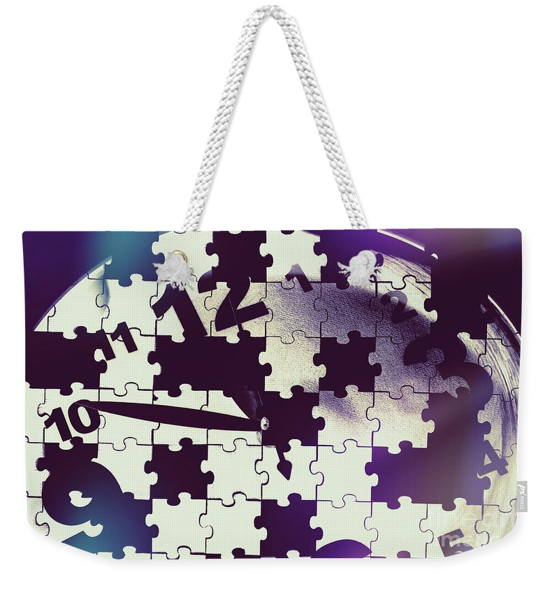 Mystery Weekender Tote Bag featuring the photograph Clock Holes And Puzzle Pieces by Jorgo Photography - Wall Art Gallery