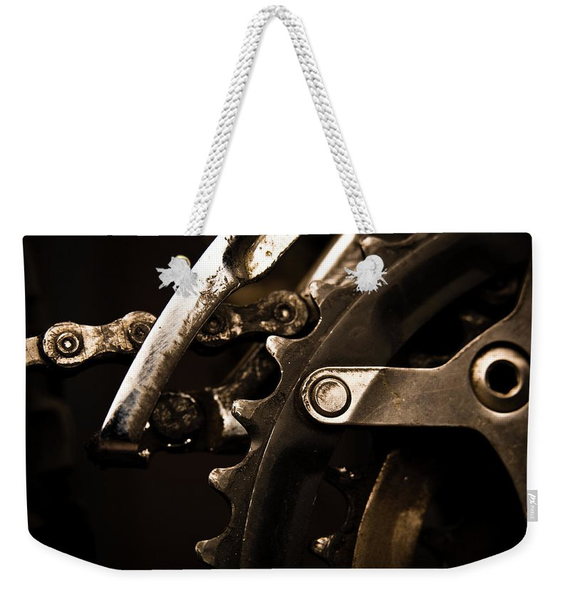 Unhealthy Eating Weekender Tote Bag featuring the photograph Closeup Of Front Derailleur by Halbergman