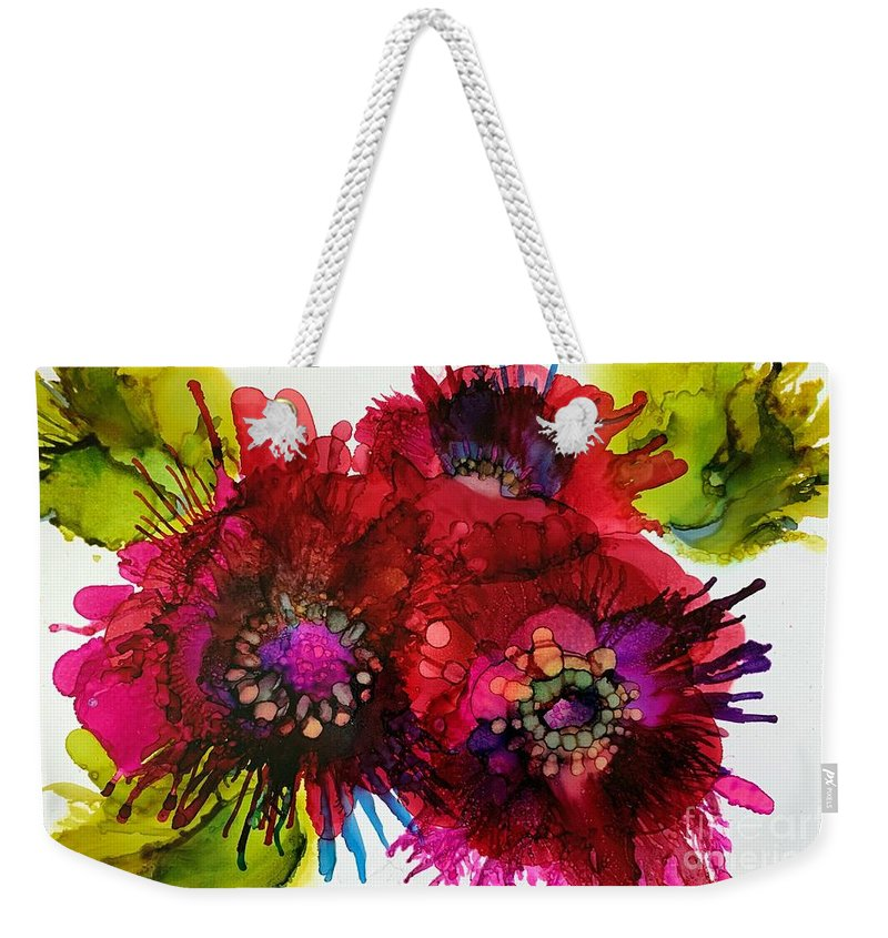 Alcohol Ink Weekender Tote Bag featuring the painting Cluster by Beth Kluth