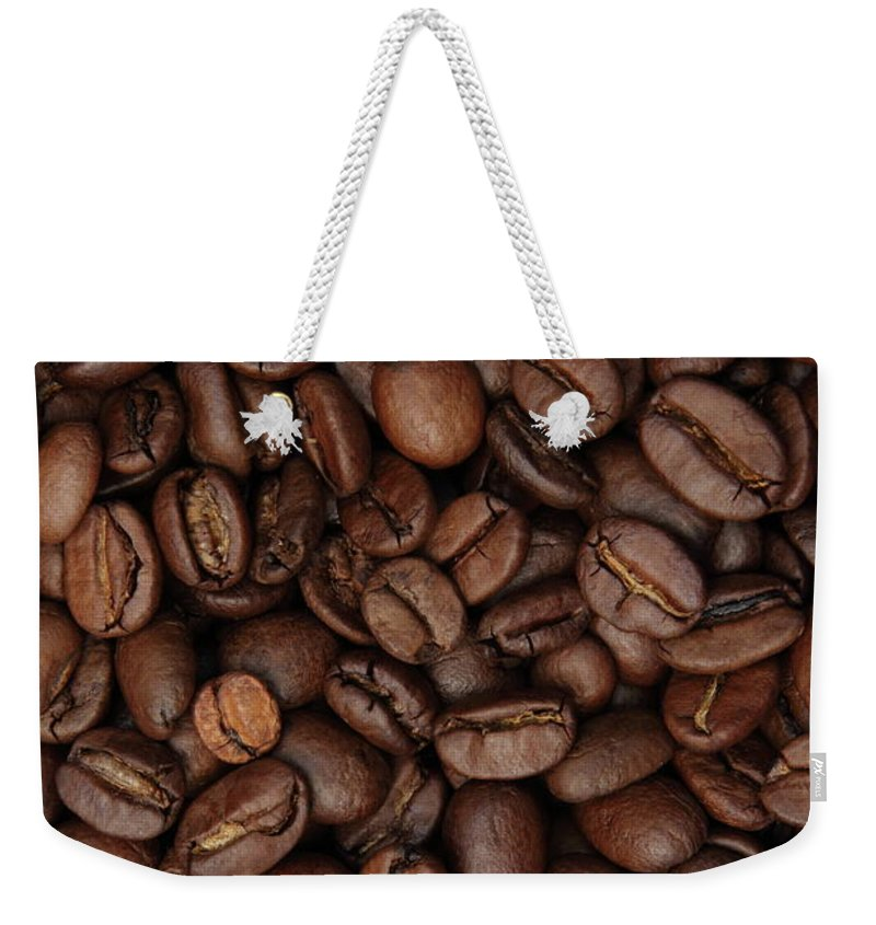 Full Frame Weekender Tote Bag featuring the photograph Coffee Bean Background Full Frame by Pejft