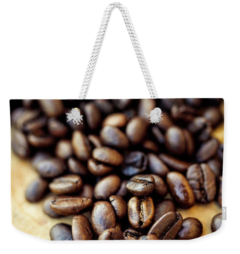 Black Color Weekender Tote Bag featuring the photograph Coffee Beans by Chang