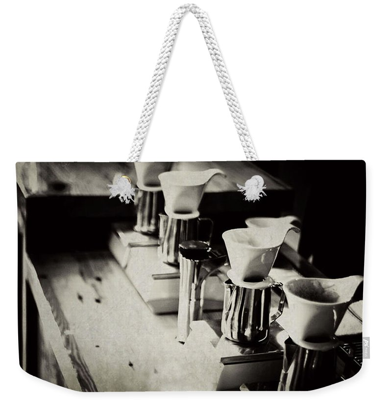 Retail Weekender Tote Bag featuring the photograph Coffee Shop by Hilde Wegner . Photography