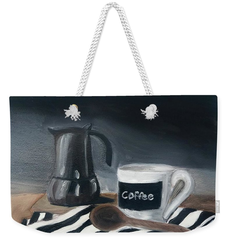 Weekender Tote Bag featuring the painting Coffee Time by Fe Jones