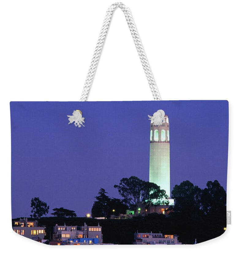 San Francisco Weekender Tote Bag featuring the photograph Coit Tower, Telegraph Hill At Dusk, San by Thomas Winz