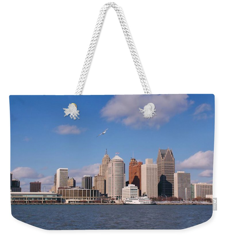 Downtown District Weekender Tote Bag featuring the photograph Cold Detroit by Corfoto