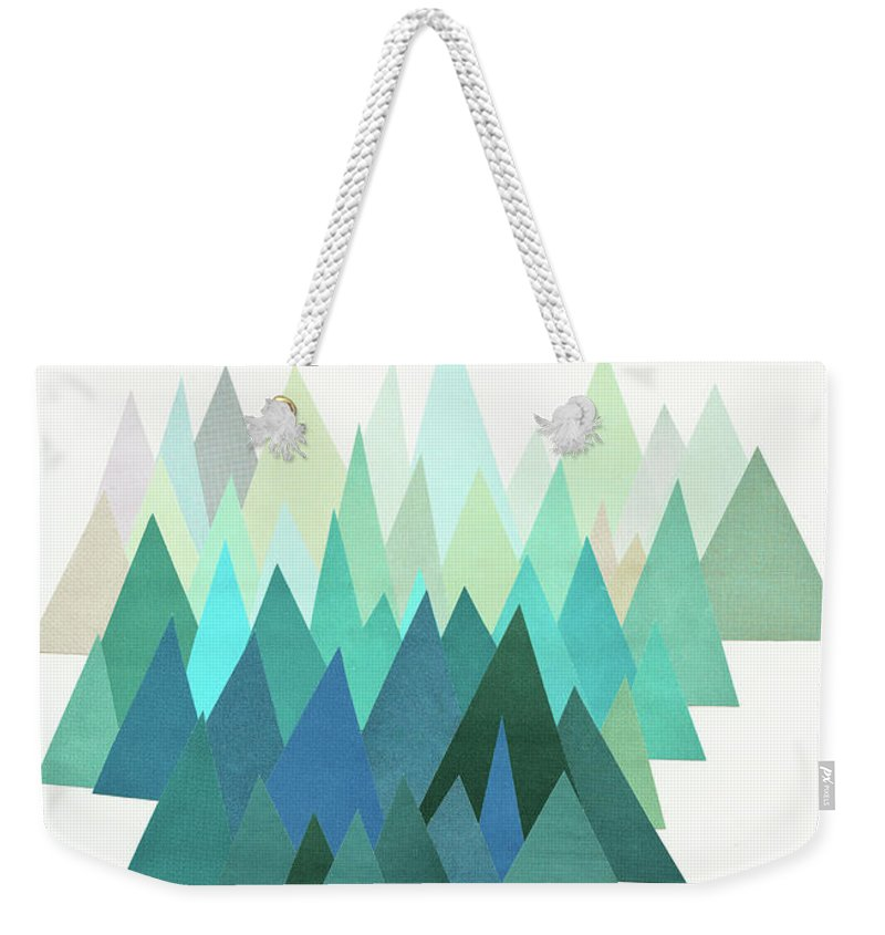 Mountains Weekender Tote Bag featuring the mixed media Cold Mountain by Cassia Beck
