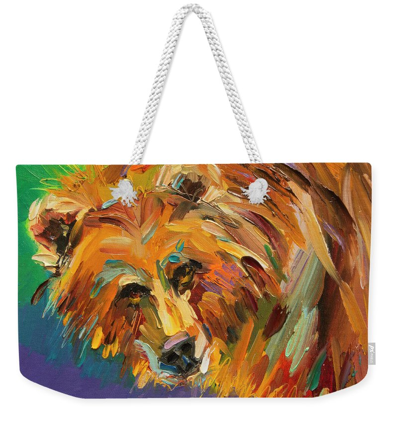 Bear Weekender Tote Bag featuring the painting Color Bear by Diane Whitehead