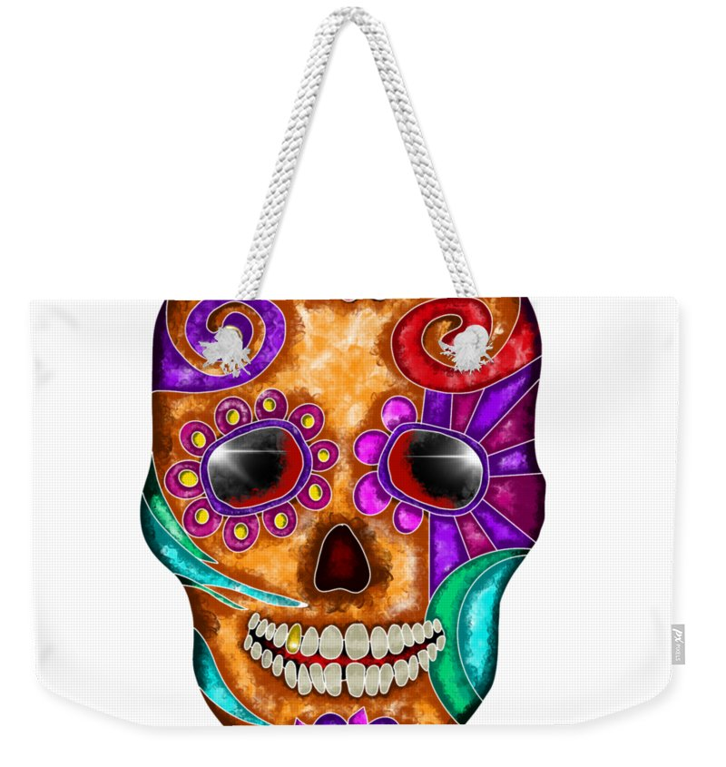 Colorful Weekender Tote Bag featuring the painting Colorful Abstract Skull by Patricia Piotrak