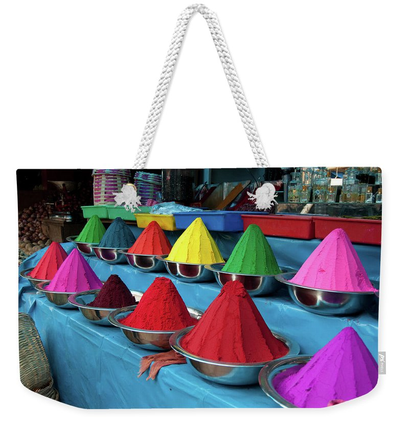 In A Row Weekender Tote Bag featuring the photograph Colorful Dyes At Indian Market by Photo By Meredith Narrowe