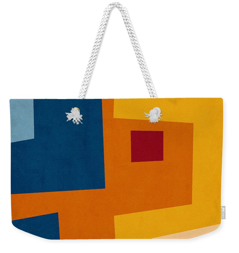 Modern Weekender Tote Bag featuring the mixed media Colorful Geometric House 3- Art By Linda Woods by Linda Woods