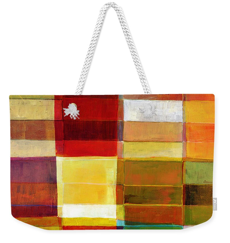 Rectangle Weekender Tote Bag featuring the photograph Colorful Painted Block Pattern by Qweek
