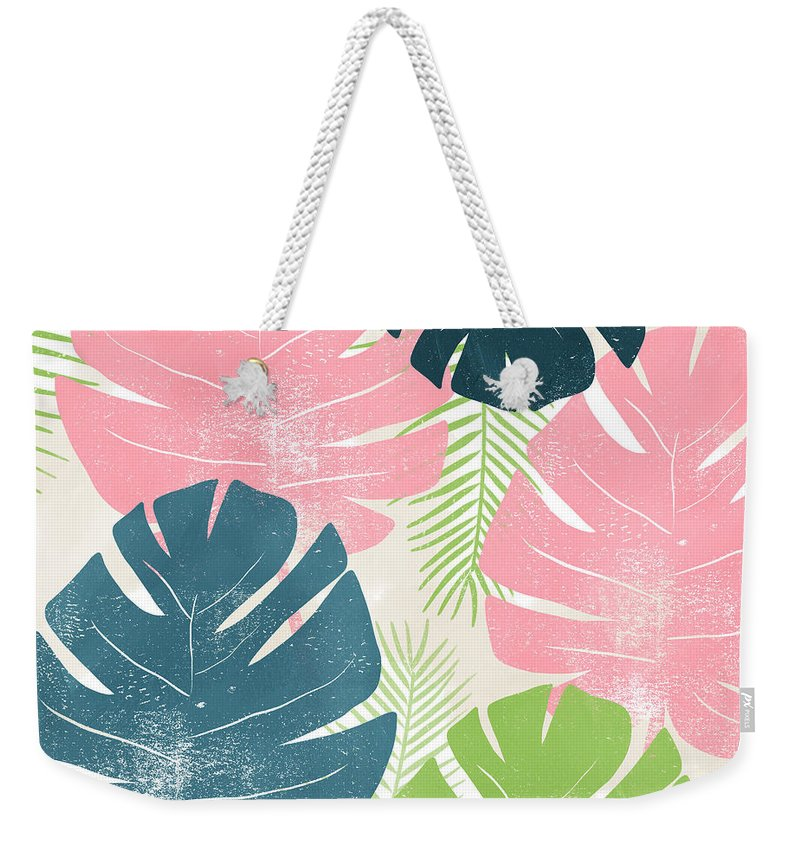 Tropical Weekender Tote Bag featuring the mixed media Colorful Palm Leaves 1- Art by Linda Woods by Linda Woods