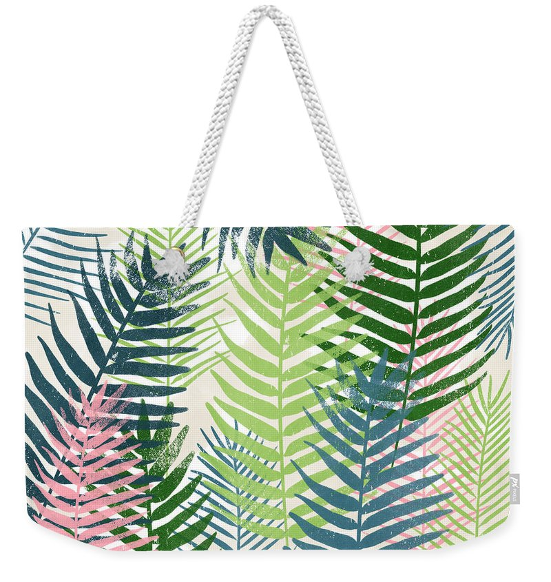 Tropical Weekender Tote Bag featuring the mixed media Colorful Palm Leaves 2- Art by Linda Woods by Linda Woods