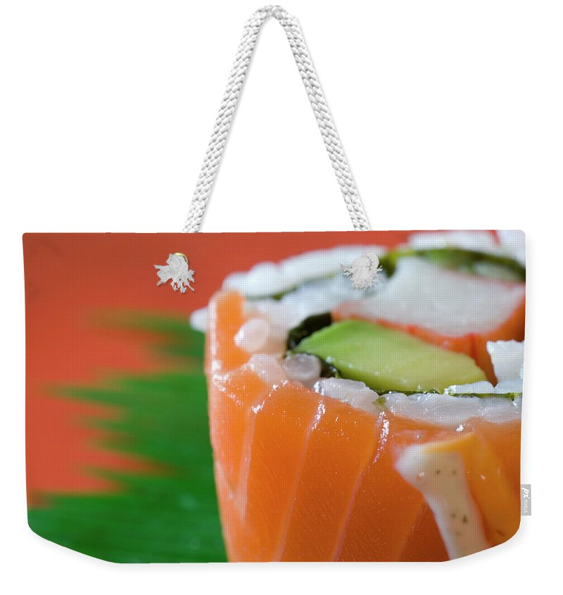 Asian And Indian Ethnicities Weekender Tote Bag featuring the photograph Colorful Sushi by Creativeye99