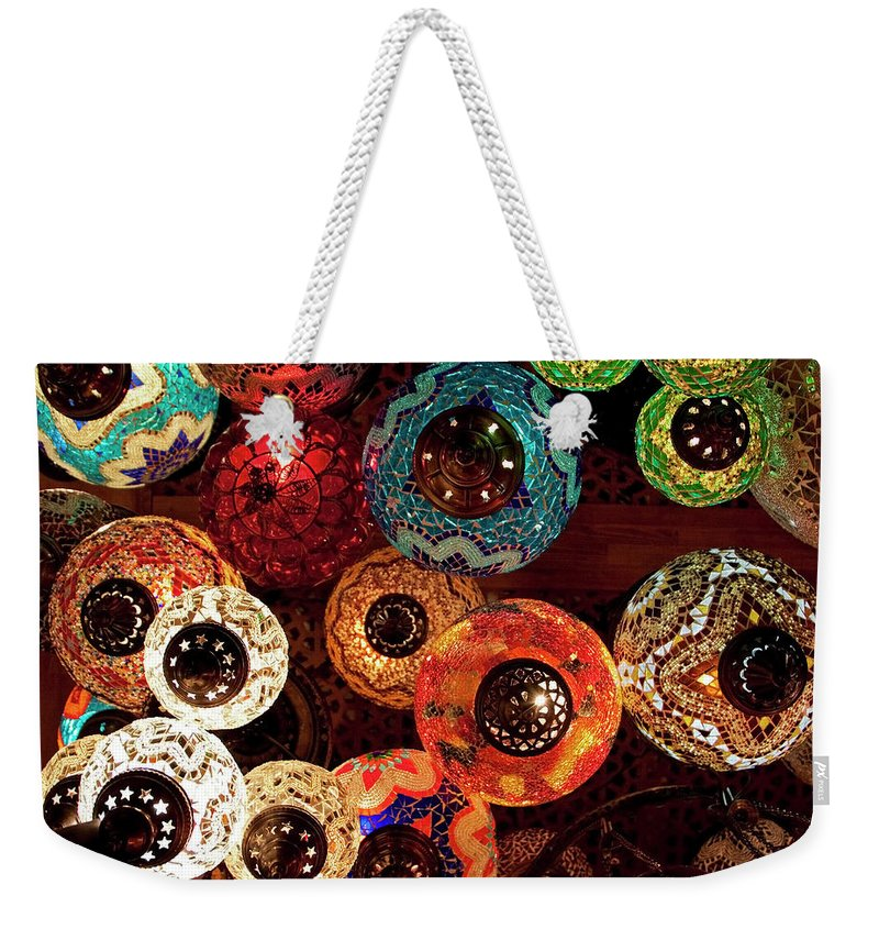 Antique Shop Weekender Tote Bag featuring the photograph Colorful Turkish Lanterns From The by Wldavies