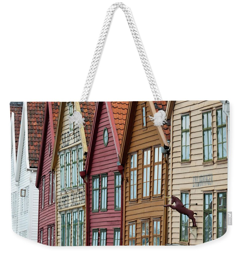 Panoramic Weekender Tote Bag featuring the photograph Colourful Houses In A Row by Keith Levit / Design Pics
