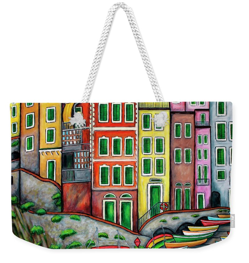 Italy Weekender Tote Bag featuring the painting Colours of Riomaggiore, Cinque Terre by Lisa Lorenz