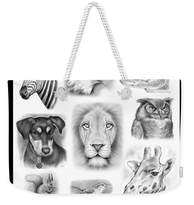 Portraits Weekender Tote Bag featuring the drawing Commissioned Animal Portraits by Greg Joens