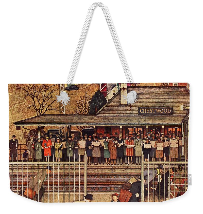 Commuters Weekender Tote Bag featuring the drawing Commuters by Norman Rockwell