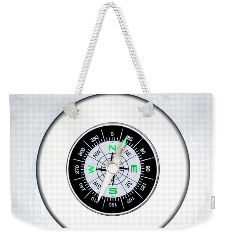White Background Weekender Tote Bag featuring the photograph Compass, Overhead View by Martin Poole