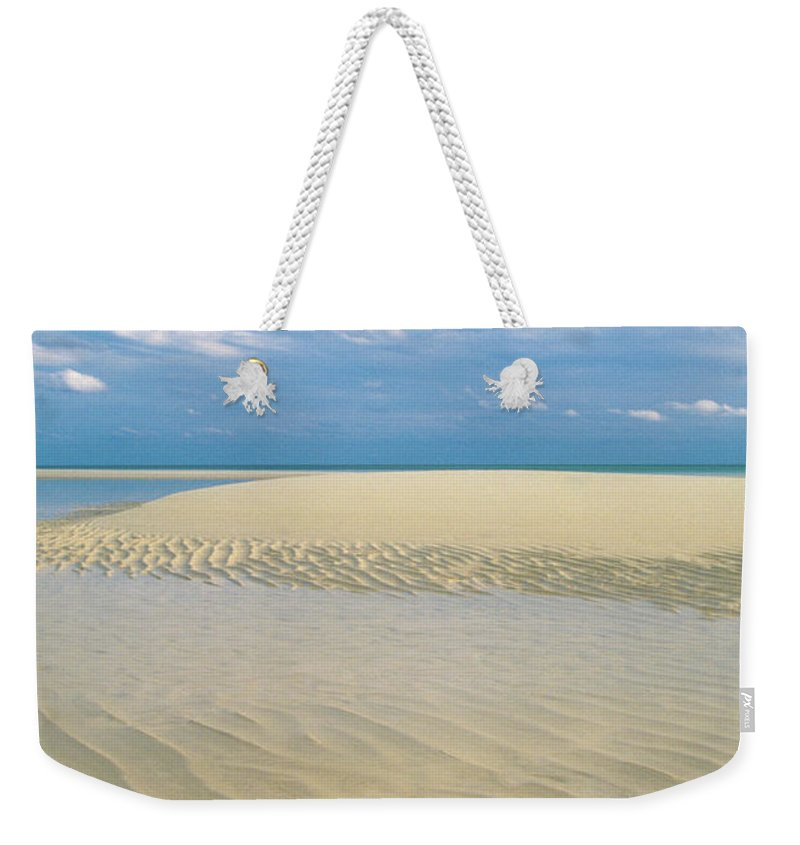 Scenics Weekender Tote Bag featuring the photograph Conch Shell On Empty Beach In Lucayan by Medioimages/photodisc