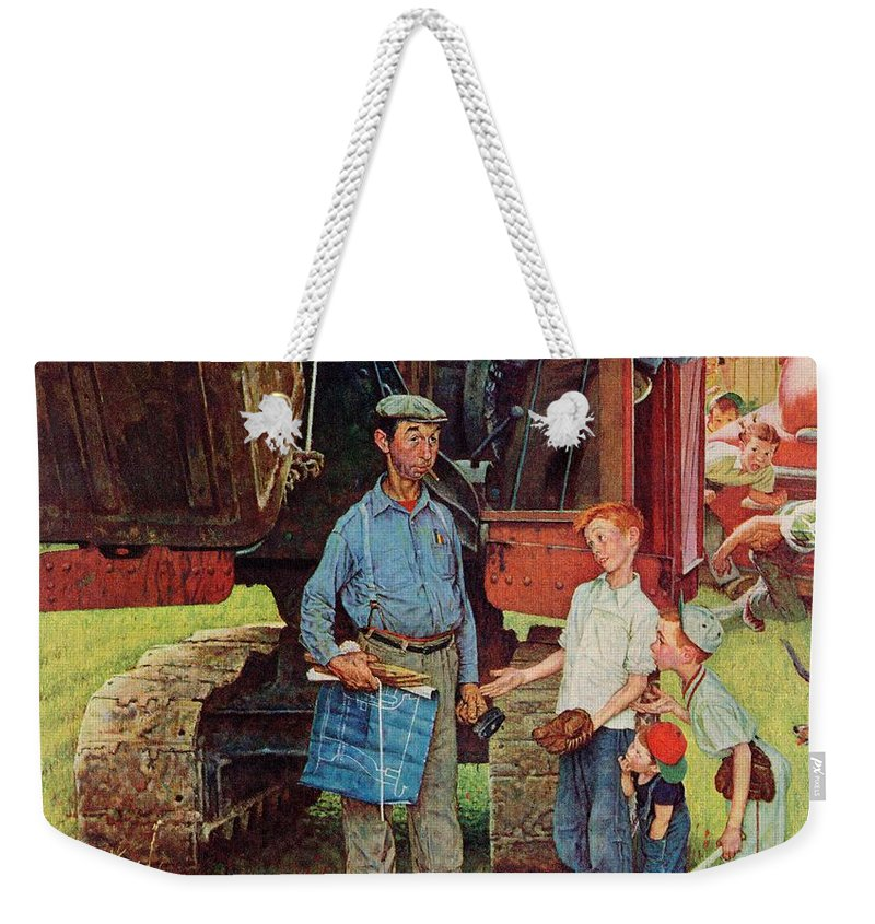 Baseball Weekender Tote Bag featuring the drawing Construction Crew by Norman Rockwell
